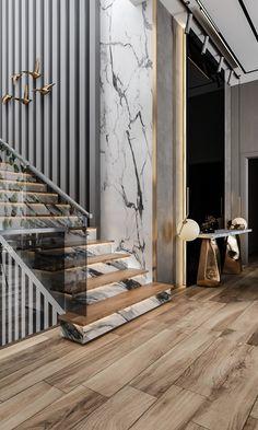 Stair Railing Design, Home Stairs Design, Stair Decor, Foyer Design, Interior Stairs, Luxury Staircase, Modern Staircase, Wardrobe Interior Design, Apartment Interior Design