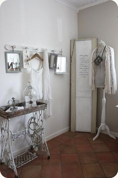 Bedroom Whitewashed Cottage chippy shabby chic french country rustic swedish idea. ***Pinned by oldattic ***.