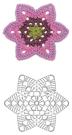 Tejido Facil: Patrón: Flor hexagonal en crochet (combinando tonos)