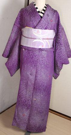 菊柄お召し/アンティーク - ポップでガーリーな普段着物・ヘッドドレス・古道具・雑貨・アンティークやアーティスト作品の販売 『chiwachiwa ちわちわ』