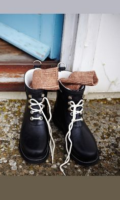 Ilse Jacobsen short lace-up wellies; Rubberboots from the Danish designer