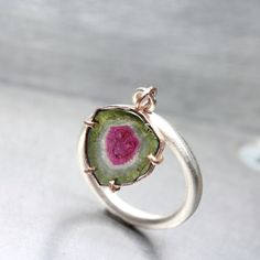 Watermelon Tourmaline Slice Dangle Ring Rose by NangijalaJewelry