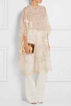 Biyan | Aurelin embellished silk-organza tunic | NET-A-PORTER.COM Note to self: pair this with a white or Ivory dress under
