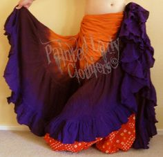 """""""Hallowed Sunset"""" 25 Yard Petticoat Skirt using our Deep Orange & Imperial… Danza Tribal, Tribal Belly Dance, Gypsy Costume, Tribal Costume, Tribal Skirts, Tribal Fusion, Belly Dance Costumes, Dance Fashion, Belly Dancers"""