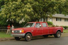 Old Parked Cars.: 1990 Ford F350 Custom Crew Cab Dually Diesel.