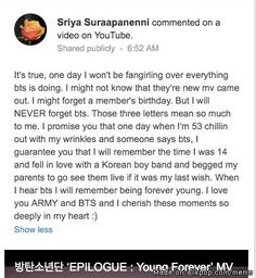 BTS YOUNG FOREVER = One of the comment that struck me the most. Cause it happens. I was an ELF before