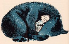 The Rainbow Book of American Folk Tales and Legends' illustrated by Marc Simont, 1958 A Polar Bear's Tale: ...sleeping...