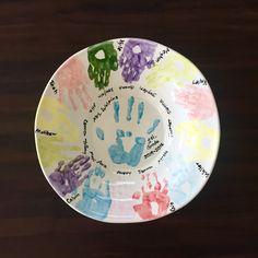 2016. Handmade fruit bowl with handprints.