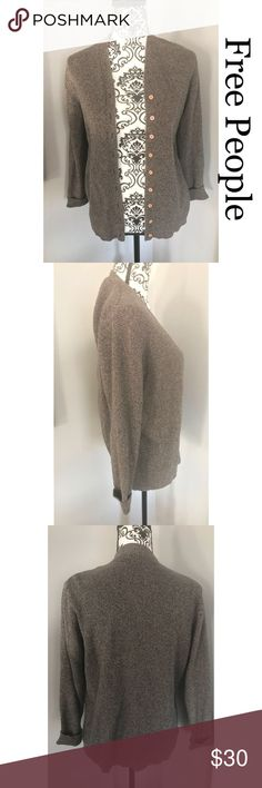 Free people women cardigan Free people women cardigan. Size medium. In great condition. All buttons are intact and working. Its a pretty thick cardigan. Great for spring weather. Color is brown. Non smoking home. Free People Sweaters Cardigans