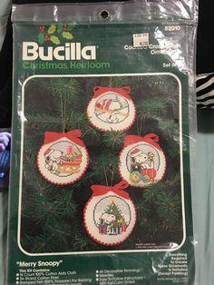 Vintage BUCILLA MERRY SNOOPY Cross Stitch Christmas Ornaments Kit 82010 PEANUTS #Bucilla #Ornament