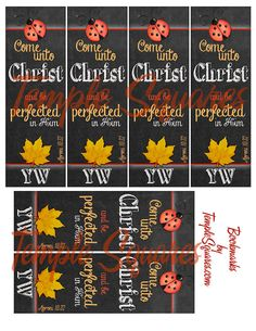 "Printable Digital File. Bookmarks LDS YW Young Women 2014 Theme Come Unto Christ  Six  2""x6"" Bookmarks per 8 1/2""x11"" page Chalkboard Style Art Design. See matching Printable Binder Cover at etsy.com/shop/templesquares Great gifts or YW craft activity."