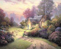 """The Good Shepherd's Cottage""  - thomas kincade                                                                                                                                                                                 More"