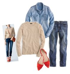 """flax strawberry chambray denim"" by justvisiting ❤ liked on Polyvore featuring J.Crew"