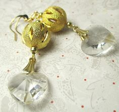 Gold Sparkle Ball with Swarovski Crystal Heart by beadwizzard. Great for Valentine's Day, jazz up your ears, wear them out to dinner.