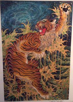 Japanese Artwork, Japanese Painting, Japanese Prints, Chinese Painting, Chinese Art, Japanese Tiger Tattoo, Japanese Tattoos, Tiger Tattoo Design, Asian Tattoos