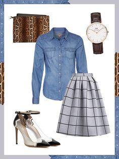 What to wear to work: das perfekte Büro-Outfit. Denim geht immer, selbst im Büro! Kombiniert ihr die Jeansbluse mit Business-Accessoires wie Slingpumps, einer schlichten Uhr und einergroßen Clutch, kann nichts mehr schief gehen!