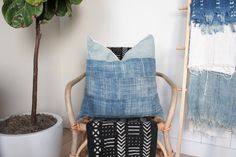 Indigo MudCloth Pillow Cover Vintage Distressed by OneAffirmation