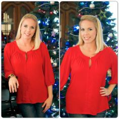 Alli Nicole Boutique | Meet Me Under The Mistletoe | Gorgeous holly red top that would be perfect for Christmas!
