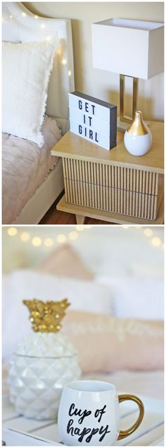 This decor is adorable! / Lifestyle, fashion and beauty blogger Michelle Kehoe of Mash Elle shares her simple, clean, minimalist pink blush, gold and white easy and affordable home decor in her bedroom. Room consists of a felt board, inspirational quotes, gold and white lamp, gold and white vase, pink pillows, white headboard, fairy lights, airy vibe, gold pineapple, gold coffee mug, and Leesa Mattress and pillow. #homedecor #goldandwhite #airy #inspirationalquote #quote #bedding #leesasleep…