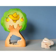 Rabbit in Tree Woden Puzzle, handmade in Russia. Sweet addition for a child's Easter basket! $15.95