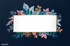 Golden rectangular frame decorated with colorful leaves illustration | premium image by rawpixel.com Flower Background Wallpaper, Flower Backgrounds, Background Patterns, Wallpaper Backgrounds, Powerpoint Background Design, Leaf Illustration, Diy Letters, Badge Design, Motif Floral