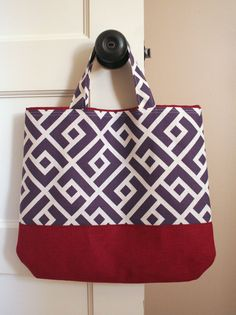 """DIY: fat quarter tote bag - fabric runs sideways for sides of bag.  Also suitable for home dec weight  18x26"""" FQ"""