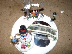 Christmas scene  ceramic with wood base great for by LabArcDesigns, $12.00