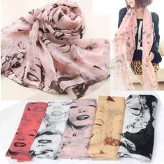 New Korean Fashion Stylish Women Ladies Pretty Marilyn Monroe Head Print Chiffon Scarf Shawl Wrap Spring Autumn
