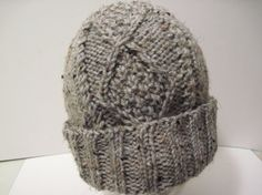 Items similar to Hand Knitted Gray Tweed Moss - in - Diamonds Watchcap on Etsy Free Knitting, Yarns, Tweed, Cable, Diamonds, Gray, Fashion, Cabo, Moda