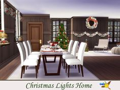 The Sims Resource: Christmas Lights Home by evi Sims 4 Cc Furniture, Sims 4 Houses, Big Kitchen, Sims Resource, The Sims4, Outdoor Furniture Sets, Outdoor Decor, Sims 4 Custom Content, Christmas And New Year