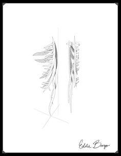 #EddieBorgo | Designer Sketch | Pavé Frond Earpiece