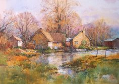 Ian Ramsay watercolors - Cotswold Reflection