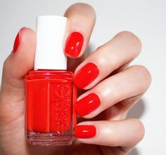 Hit the ground running and climb the heights of fashion in this scorching hot lava red 'hiking heels' from the essie Summer 2016 collection.