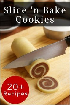 25 Slice 'n Bake Refrigerator Cookies: the dough can be prepared when you have a few minutes then rolled into logs and wrapped in wax paper. Chill until needed (most freeze well too) and once firm, simply slice and bake when there's time. Cookie Desserts, Just Desserts, Cookie Recipes, Delicious Desserts, Dessert Recipes, Yummy Food, Refrigerator Cookies Recipes, Cookie Bakery, No Bake Cookies