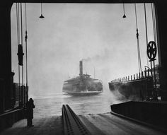 A ferry arriving at Weehawken, N., from New York, through wisps of heavy weather. Photo: Ernie Sisto/The New York Times Places Around The World, Around The Worlds, Uss Iowa, History Of Photography, City State, Jersey City, Water Crafts, Vintage Photographs, Great Photos
