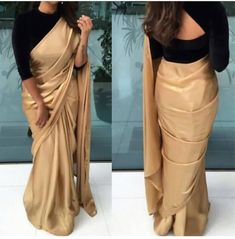 Golden Saree With Black Velvet Blouse - Image Of Blouse and Pocket Black Blouse Designs, Saree Jacket Designs, Saree Blouse Neck Designs, Blouse Patterns, Patiala, Churidar, Anarkali, Salwar Kameez, Saree Hairstyles