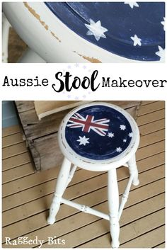 Joining in with all the fun for a Red, White and Blue Theme Blog Hop and painted an Aussie Stool Makeover | www.raggedy-bits.com