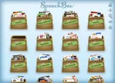 SpeechBox™ for Speech Therapy (Apraxia, Autism, Down's Syndrome) - iPad Edition ($19.99) no complex menus to navigate through before being presented with pictures. Tap on a box, and it displays it's contents. Selecting a picture is as easy as moving around the pictures and tapping on the one you wish to view. When you are done with the picture you can swipe to remove it from the box or pinch it to put it back in the box. Add your own pictures using the iPad's camera or photo library.