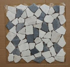 Mosaik Irregular Each Pcs Use Single Packing Plastic And Layer Cartoon Color : Mix Nero Marquina - Biancone Size : 30.5 x 30.5 cm Qty : 11 Pcs / Sqm