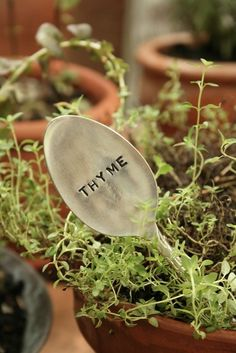 Silverware  Garden Marker Thyme recycled by BeachHouseLiving, $8.00