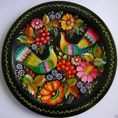 Ukrainian Handmade  wooden Plate  with Petrykivka Painting Folk Art