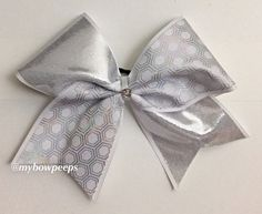 White and silver hexagon cheer bow by MyBowPeeps on Etsy
