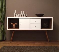 hacked Ikea Kallax shelf turned console