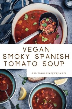 This rustic Smoky Spanish Tomato Soup is packed with vegetables and roasted peppers and spices. Flavourful speedy and healthy this soup is a great weeknight meal. Vegetarian Christmas Recipes, Vegetarian Main Dishes, Vegetarian Recipes, Healthy Recipes, Lunch Recipes, Beef Recipes, Soup Recipes, Dinner Recipes, Vegan Gluten Free Desserts
