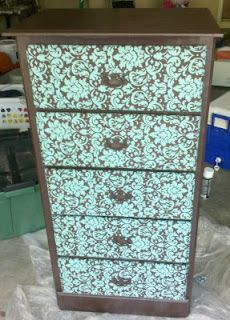 How to cover a dresser with fabric - use various patterns and do for a kid's dresser
