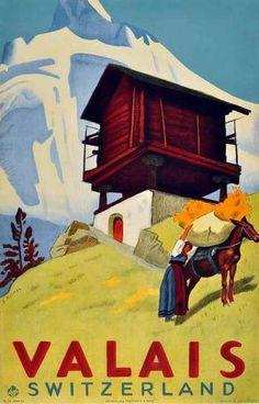 Valais Switzerland Suisse Winter Ski Europe Travel Advertisement Art Poster in Posters Ski Vintage, Party Vintage, Retro Poster, Vintage Travel Posters, Ski Europe, Swiss Travel, Ski Posters, Room Posters, Tourism Poster