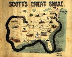 The Anaconda Campaign was General Scott's plan to defeat the Confederacy at the start of the Civil War. Scott's plan was to create a complete naval blockade of the Southern states. Named for the South American snake that kills its prey by strangulation, Scott's plan was to strangle the South into submission by cutting its supply lines to the outside world. This was done to lessen bloodshed in the war.