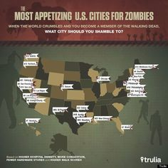 The worst cities to be in during the zombie apocalypse, to bad half of the places I want to live are on it...