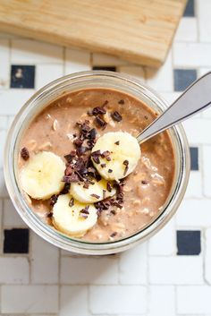Chocolate banana overnight oats make for a healthy breakfast option that's quick and easy to prepare and portable.
