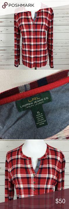 LRL Ralph Lauren XL Flannel Plaid Long Sleeve Top Excellent used condition Lauren Ralph Lauren Tops Blouses